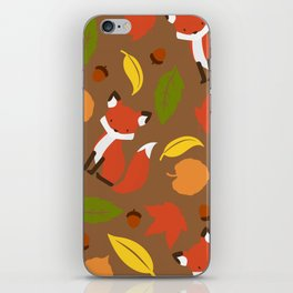 Fox Jumble - Brown iPhone Skin