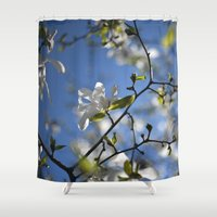 magnolia Shower Curtains featuring Magnolia by Moe C