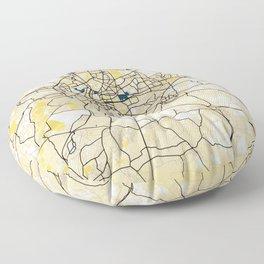 Rennes Yellow City Map Floor Pillow