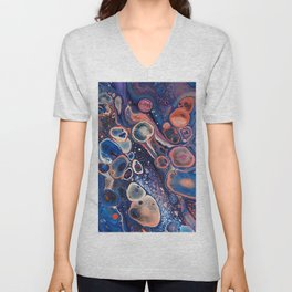 Resurrection Blue Purple Red Fluid Abstract Unisex V-Neck
