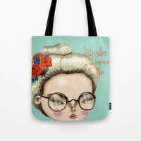 hipster Tote Bags featuring Hipster by Maripili