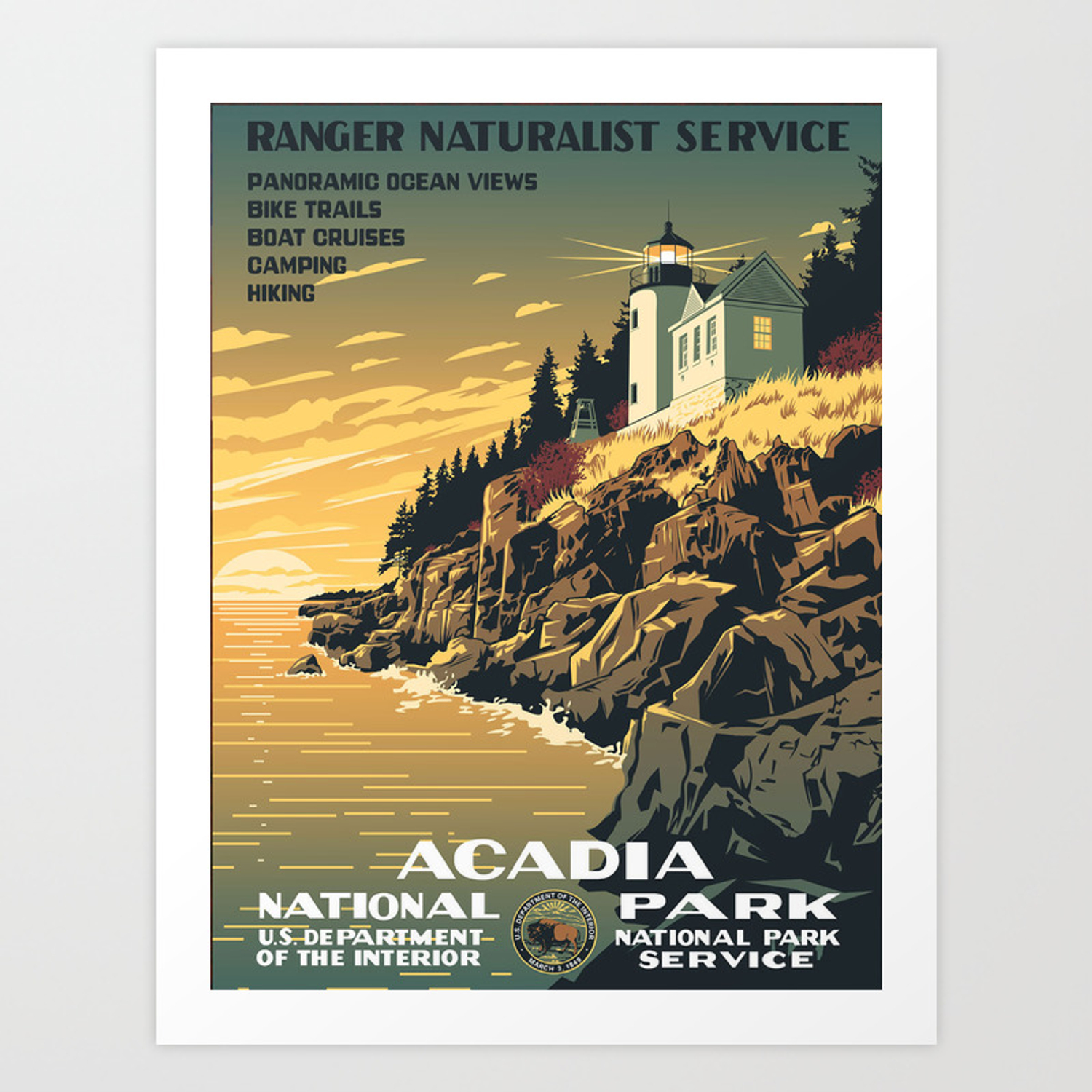 Vintage Poster Acadia National Park Art Print By Mosfunky Society6