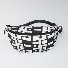 Mid Century Modern Abstract 213 Black and White Fanny Pack
