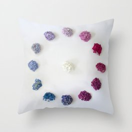 Circle of Hydrangea Throw Pillow
