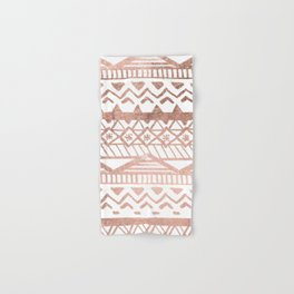 Faux rose gold handdrawn trendy tribal aztec pattern Hand & Bath Towel