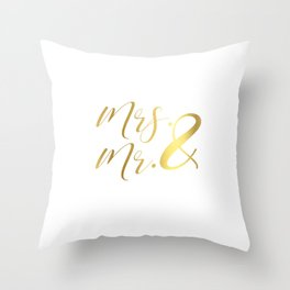 Mr Mrs Love Prints. Wedding Art Prints. Real Gold or Silver Foil Print. His and Hers Wall Art. Throw Pillow