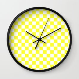White and Electric Yellow Checkerboard Wall Clock