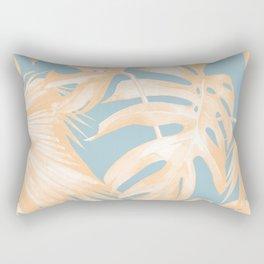 Tropical Leaves Citrus on Ocean Blue Rectangular Pillow