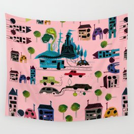 CityView pink Wall Tapestry