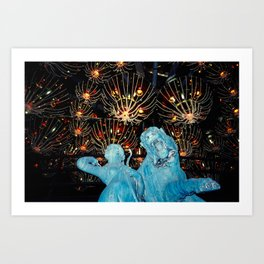Blue American Gothic Art Print