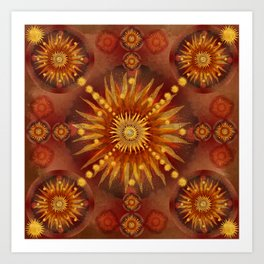 """Red Blood & Gold Vault Mandala (Gold stars)"" Art Print"