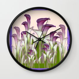 ART NOUVEAU  MAROON CALLA LILIES PURPLE DESIGN Wall Clock