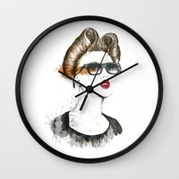 lindsay lohan Wall Clocks featuring Lindsay Wixson by Sofialmazan