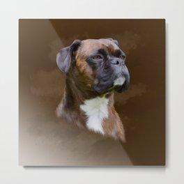 Boxer Dog Oil Painting Art Portrait Metal Print