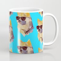 doge Mugs featuring Polygonal Doge  by Michael Fortman