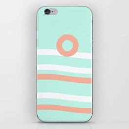 Turquoise & Coral (7) iPhone Skin