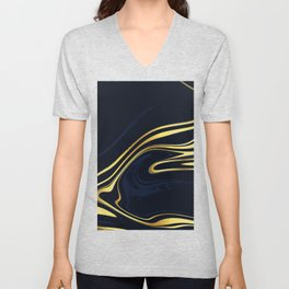 Dark Blue And Gold Marble Unisex V-Neck