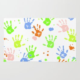 Hand Print Colorful Paint Rug
