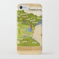minnesota iPhone & iPod Cases featuring Minnesota Map by Carpcake