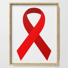 Red Awareness Support Ribbon Serving Tray