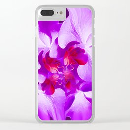 Abstract Orchid In Lavender Clear iPhone Case