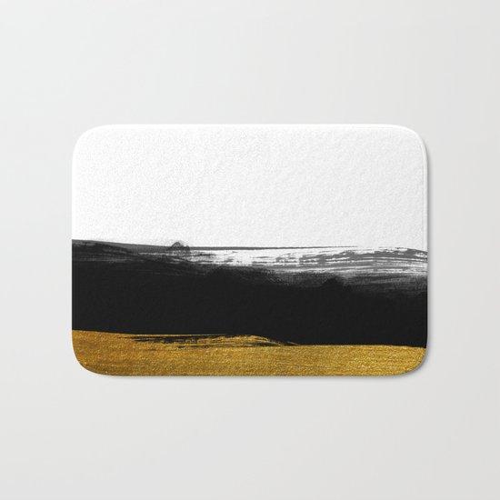 Black and Gold grunge stripes on clear white backround - Stripe- Striped Bath Mat