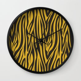 Grey and Gold Zebra Print Pattern Wall Clock