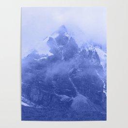 Rocky Mountain Fog Blue Poster