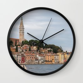 Pretty Seaside Town Rovinj Croatia Waterfront Wall Clock