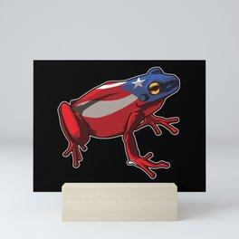 Puerto Rico Frog Coqui   Proud Boricua Flag Mini Art Print