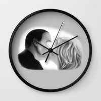 bad wolf Wall Clocks featuring Bad Wolf by Sarah ONeil