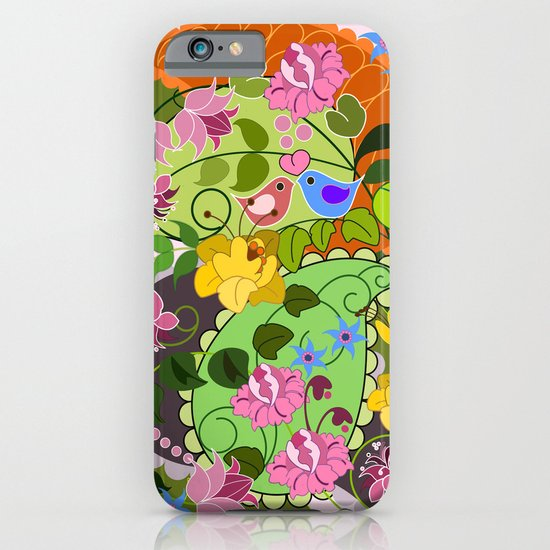 Retro Paisley shapes, damask flowers & Love birds iPhone & iPod Case