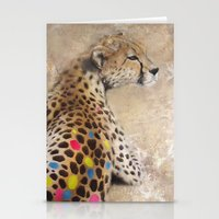 cheetah Stationery Cards featuring Cheetah by Sath