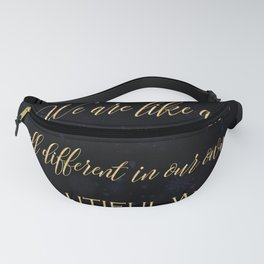 We are like a snowflake - gold glitter Typography on dark background Fanny Pack