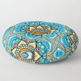 Colored Mandala With An Eye Symbol Floor Pillow