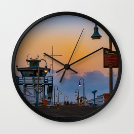 Early Morning San Clemente Pier Wall Clock
