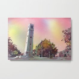 North Carolina Statue University Bell-Tower in Raleigh, NC at dusk. NCSU artwork bell tower Metal Print