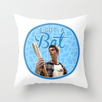 stiles stilinski Throw Pillows featuring Stiles Stilinski - Bat by JulietteGD