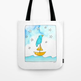 "Bird on a Boat, Dreaming (from the book, ""You, the Magician"") Tote Bag"