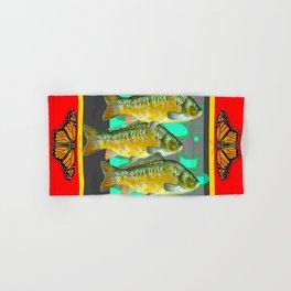MONARCH BUTTERFLIES YELLOW-RED FISH VIGNETTE Hand & Bath Towel