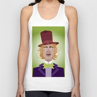 willy wonka Tank Tops featuring Willy Wonka from Charlie and the chocolate factory, played by the great Gene Wilder by Joe Pugilist Design