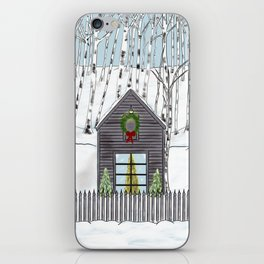 Christmas Cabin In The Snowy Woods iPhone Skin