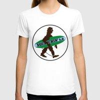 sasquatch T-shirts featuring Sasquatch Squatchin' Surfing Bigfoot by mailboxdisco