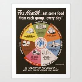 Vintage poster - Food Groups Art Print