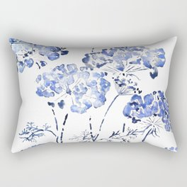 abstract Queen Anne's Lace flower in blue Rectangular Pillow