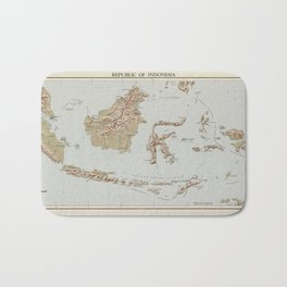 Republic of Indonesia Map (1957) Bath Mat