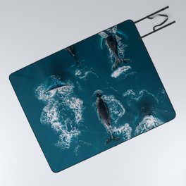 Humpback whales in the arctic ocean - Wildlife Aerial Picnic Blanket