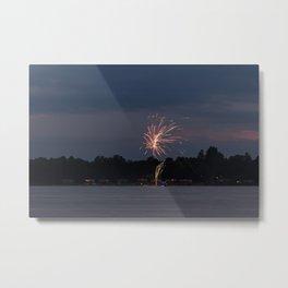 Fireworks Over Lake 22 Metal Print