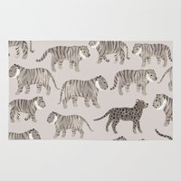 tigers Area & Throw Rugs featuring Gray Tigers by Sian Keegan
