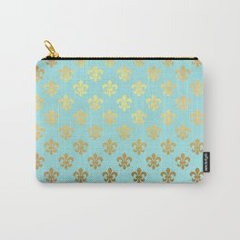 Royal gold ornaments on aqua turquoise background Carry-All Pouch